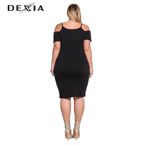 Sexy Black Dress Solid Short Sleeve