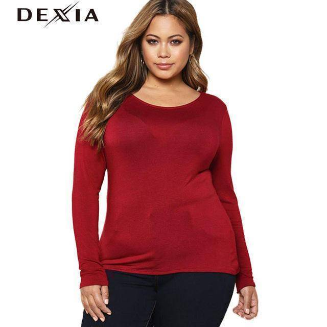 DEXIA Full Sleeve Knitted O-Neck Solid Dress