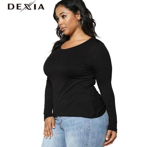 Image of DEXIA Full Sleeve Knitted O-Neck Solid Dress