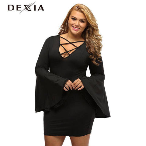 Image of DEXIA Full Sleeve Autumn Dresses 2017 Solid Pencil V Neck Plus Size Dress