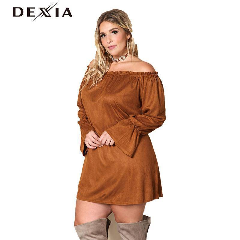 DEXIA Loose Full Sleeve Women Dress 2017 Fashion Autumn Solid Plus Size Party Dresses