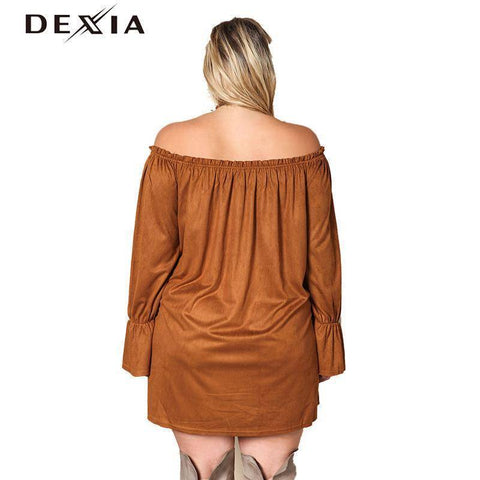 Image of DEXIA Loose Full Sleeve Women Dress 2017 Fashion Autumn Solid Plus Size Party Dresses