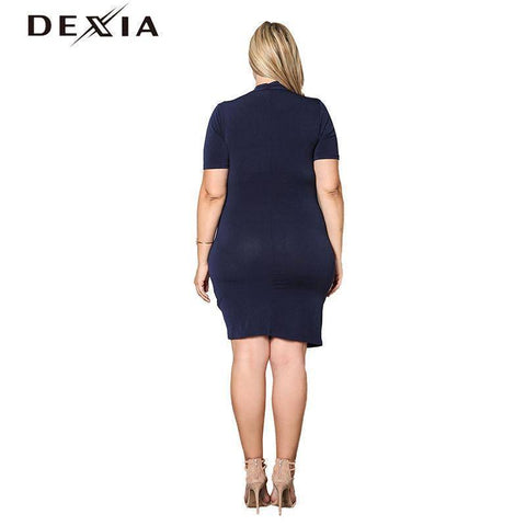 Image of DEXIA  Solid Blue V Neck Short Sleeve Dress