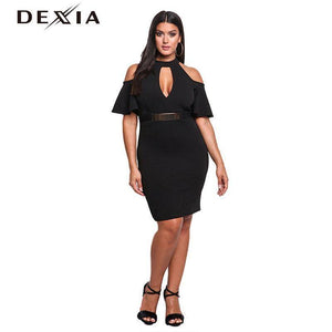 DEXIA Sequined Sashes Ruffle Off Shoulder Dresses
