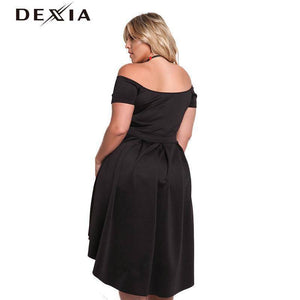 DEXIA Slash Neck Novelty Draped Female Party Dresses