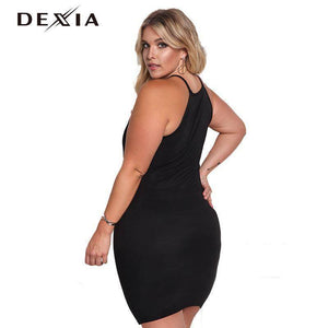 DEXIA Sleeveless Black Women Dress Plus Size Solid 2017 Off Shoulder Party Dresses