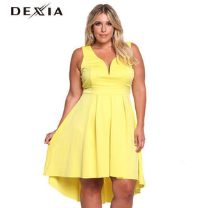 DEXIA Solid Sleeveless V Neck  Loose Plus Size Party Dresses