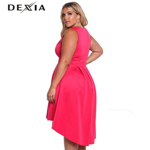 Image of DEXIA Solid Sleeveless V Neck  Loose Plus Size Party Dresses