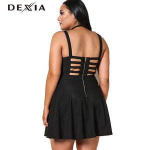 DEXIA Dress Women 2017 V-Neck Spaghetti Strap Party Evening Mini Dresses Plus Size
