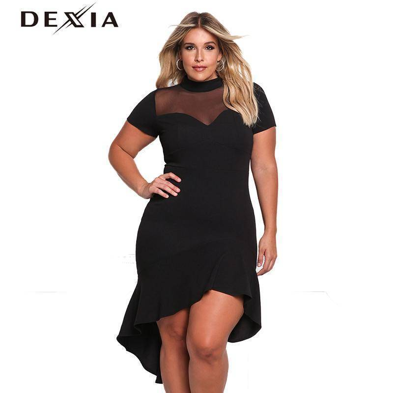 c1220ccc1a9 DEXIA Women Dress Short Sleeve Solid O Neck Plus Size Party Dresses 20 –  Crypto Fashion