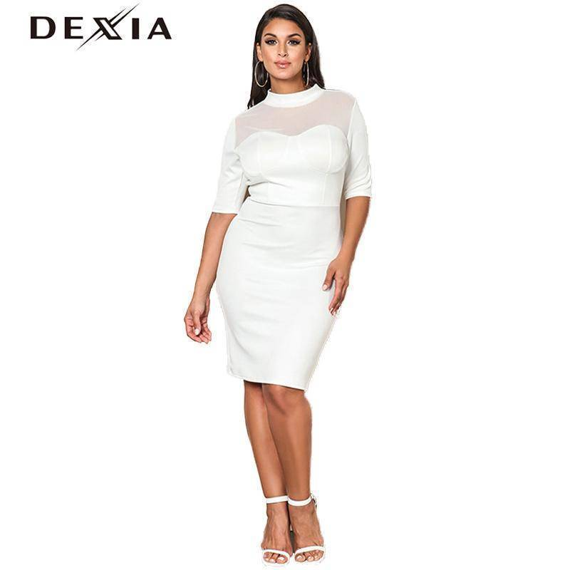 DEXIA Round Neck Knee-Length Half Sleeve Dresses
