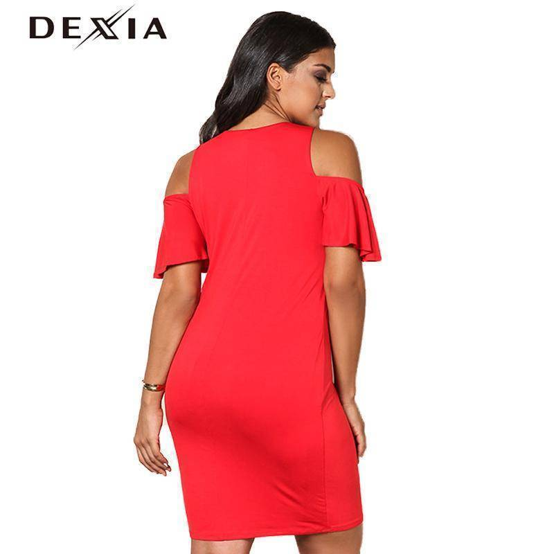 DEXIA  Sleeve Hollow Out V-Neck Dresses