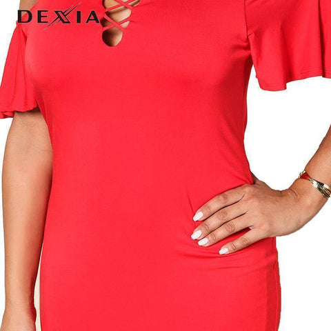 Image of DEXIA  Sleeve Hollow Out V-Neck Dresses