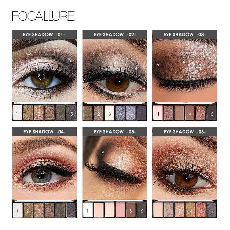 FOCALLURE 6 Colors Eye Shadow Makeup Shimmer Matte Eyeshadow