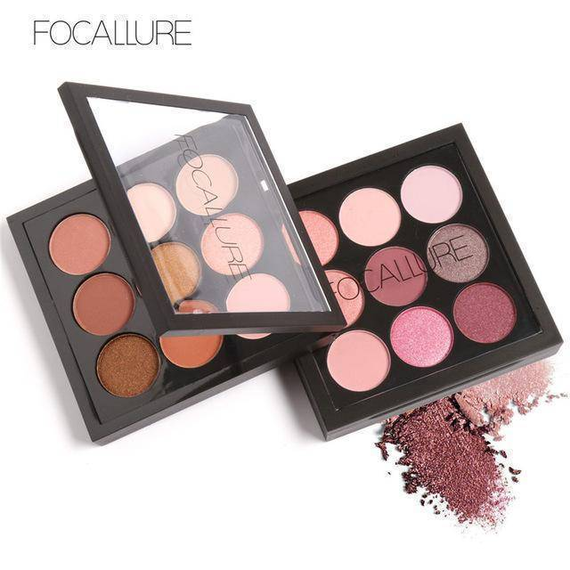 FOCALLURE 9 Colors Pigment Glitter Eyeshadow Palette