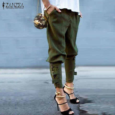Image of Casual Loose Pockets Elastic Waist Pants
