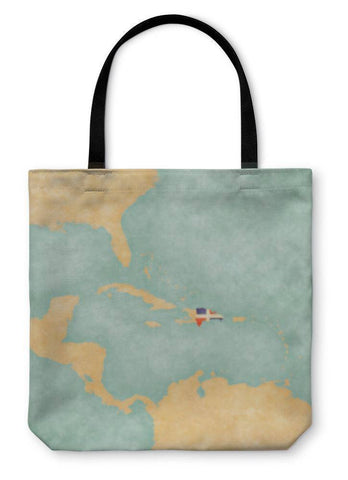 Tote Bag, Map Of Caribbean Dominican Republic