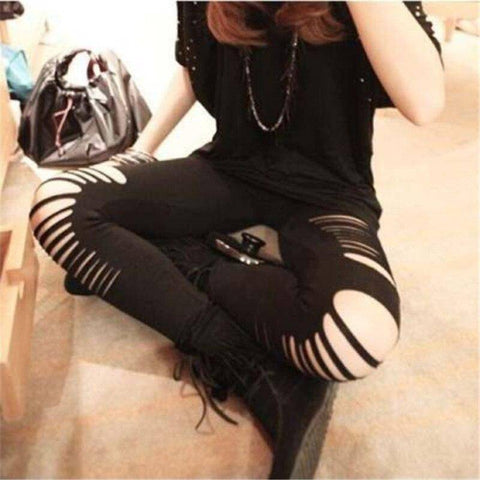 Slashed Ripped Cut Out Leggings