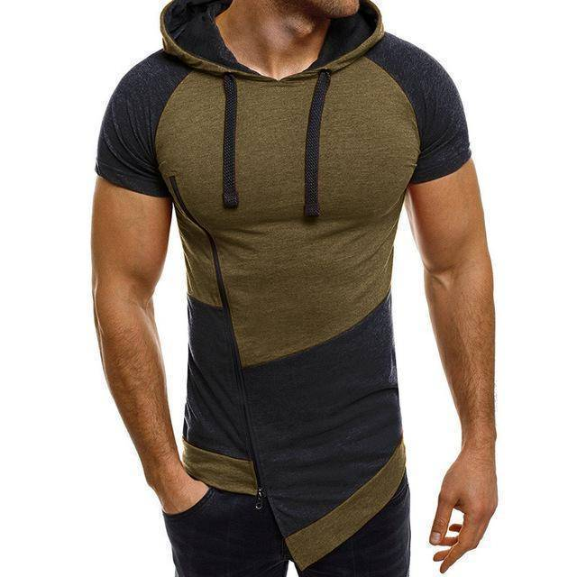 Bodybuilding Casual Gyms Patchwork  Short Sleeve hooded Sweatshirt