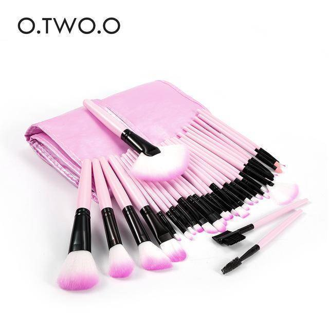 O.TWO.O 32pcs/lot Pink Color Make Up Brushes Set