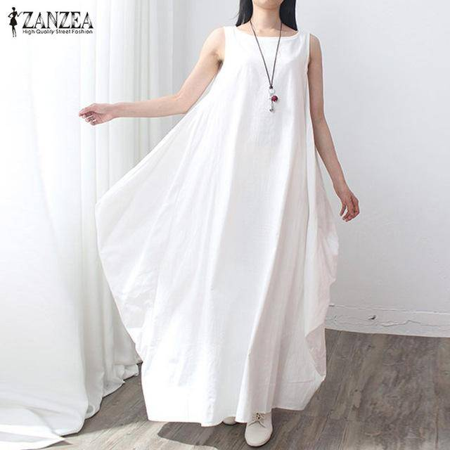 Zanzea Sleeveless O Neck Linen Long Maxi Dress