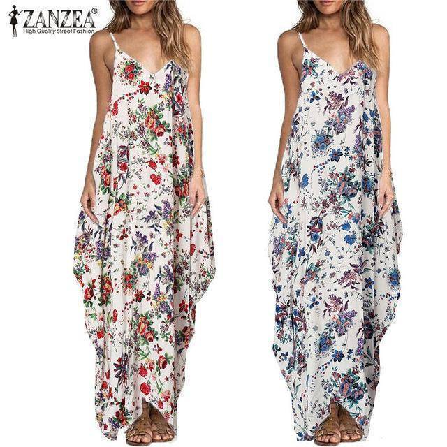 Zanzea Floral Print Spaghetti Strap Backless Maxi Dress
