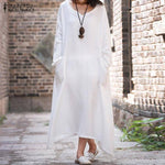 Zanzea Casual Loose V Neck Long Sleeve Cotton Dress