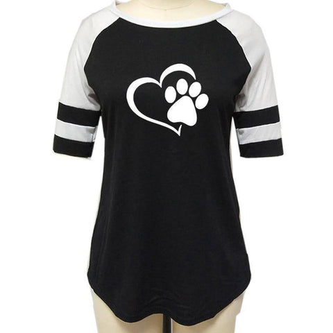 Dog Paw Print T-shirt Top for Woman