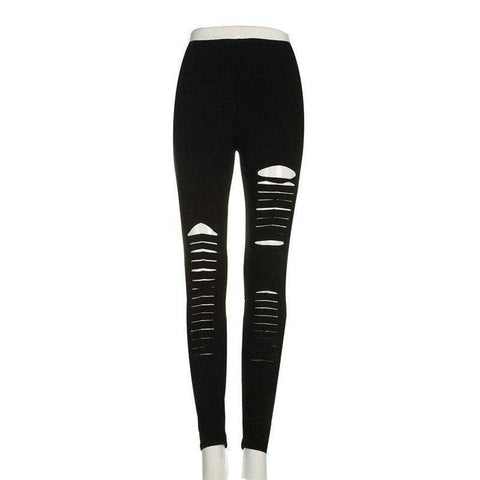 Image of Slashed Ripped Cut Out Leggings