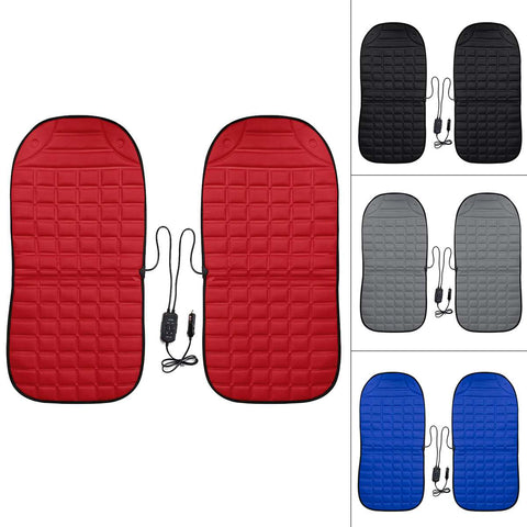 2Pcs In 1 Fast Heated & Adjustable Black/Grey/Blue/Red Car Electric Heated Seat Car