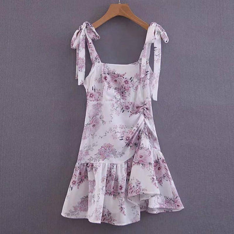 Image of Vintage Floral Printed Chiffon Ruffles Dress