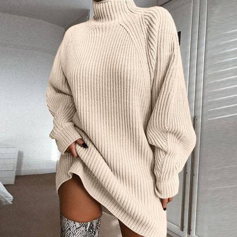 Image of Knitted Turtleneck Sweater Dress