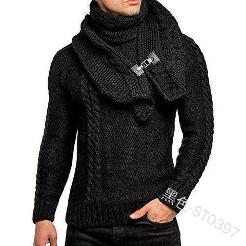 SWEATER+Gift Scarf Men Long Sleeves Pullovers