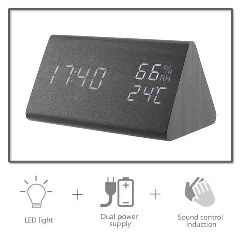 Digital Alarm Clock 3 With Wooden Electronic LED Time | Display Dual Temperature & Humidity Detection