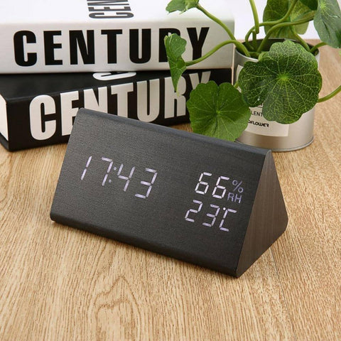 Digital Alarm Clock 3 Alarm Settings with Wooden Electronic LED Time Display Dual Temperature & Humidity Detection