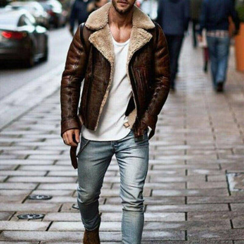 Genuine Leather Biker Style Zipper Jacket