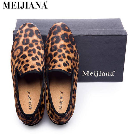Image of Handmade Leopard Red Bottom Loafers
