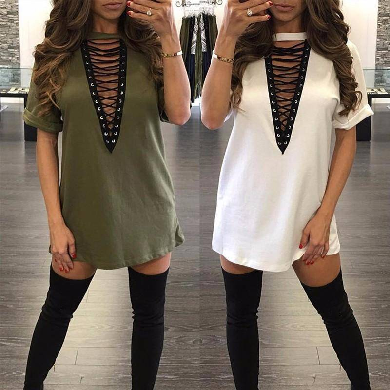 Ladies Sexy V -neck Lace Up Mini Dress