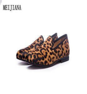 Handmade Leopard Red Bottom Loafers