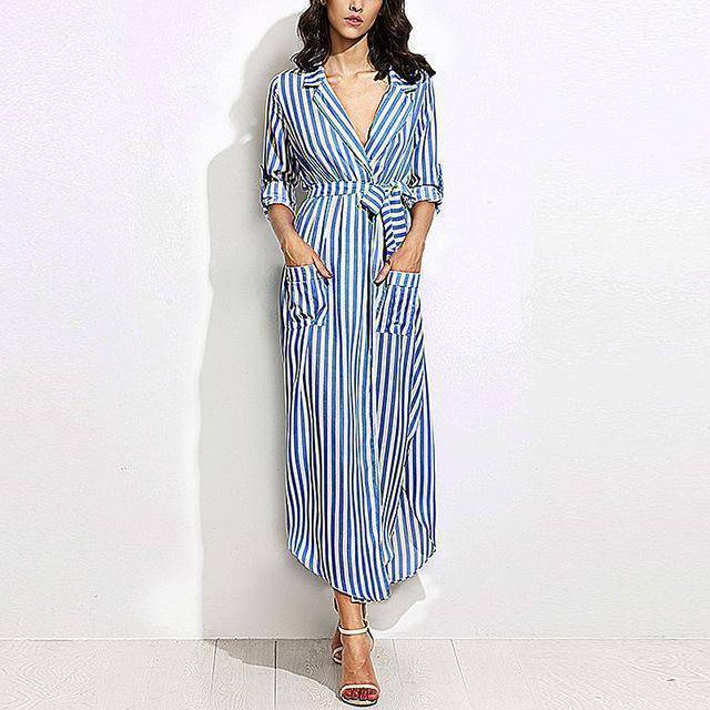 Casual Black White Striped Long Maxi Shirt Dress