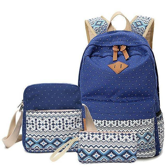 Vogue 3 PC/Set Stylish Canvas Printing Backpack