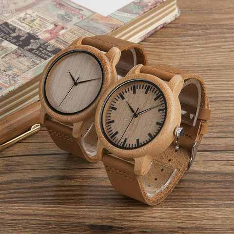 Image of Bamboo Wood Quartz Watches With Soft Leather Straps