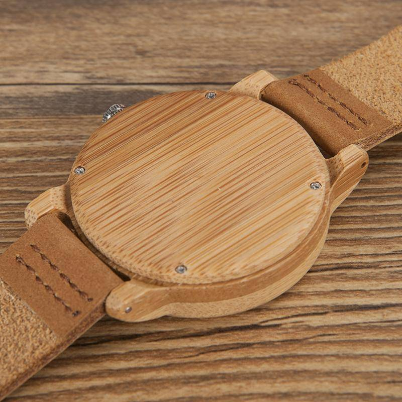 Bamboo Wood Quartz Watches With Soft Leather Straps