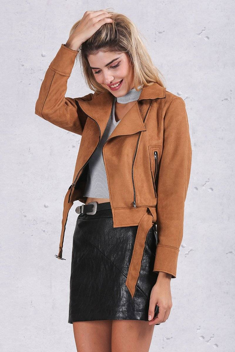 Basic Suede Jacket | Women Short Winter Jacket