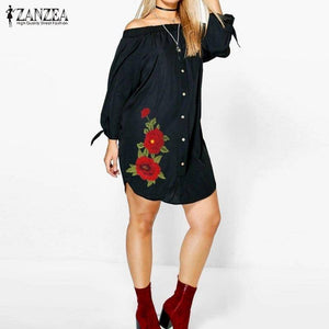 Women Mini Sexy Off Shoulder Shirt Dress | Vintage Floral Embroidery Casual Asymmetric Shirt