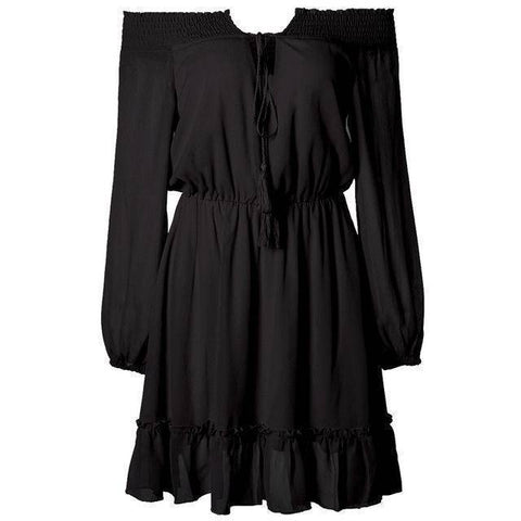 Image of Strapless Flare Sleeve Ruffles Mini Dress