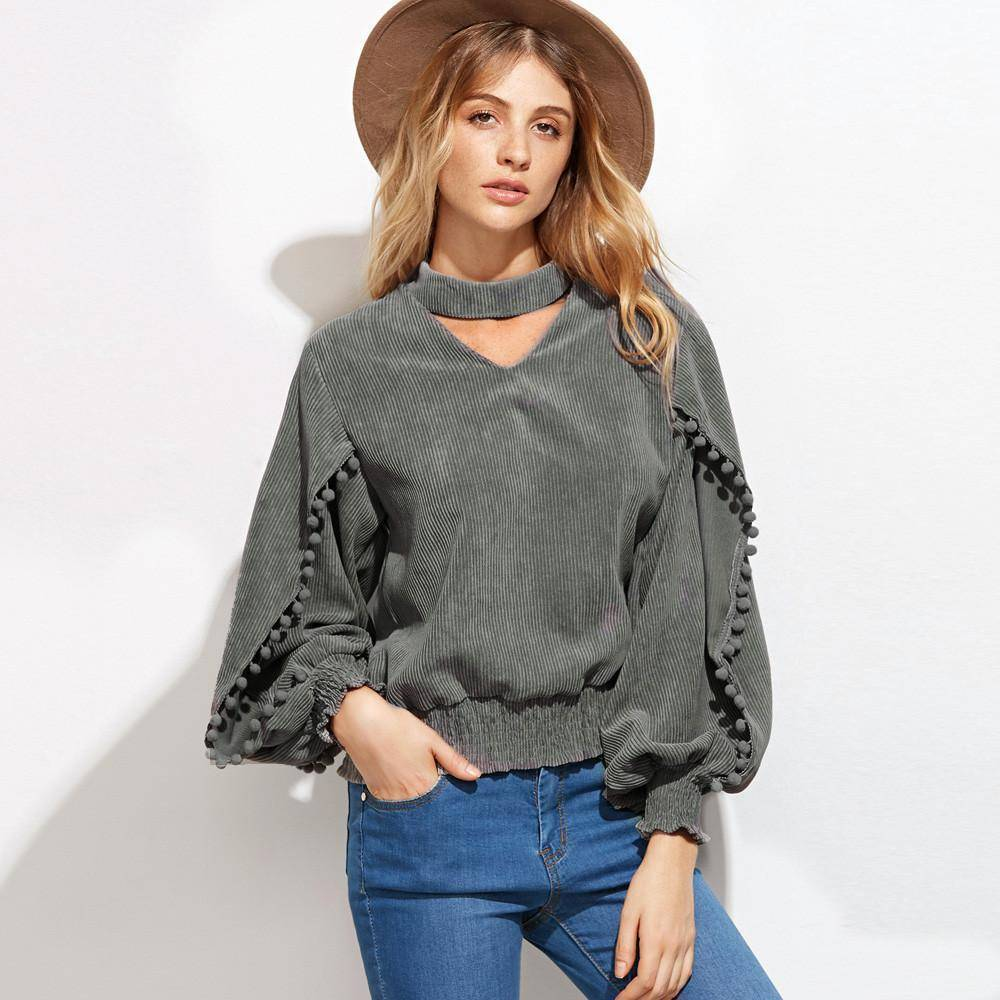 Fashion Women Blouse| Sexy V-Neck Shirt | Top Casual Gray Loose Ladies Blouse