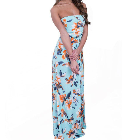 Image of Strapless Floral Printing Dress