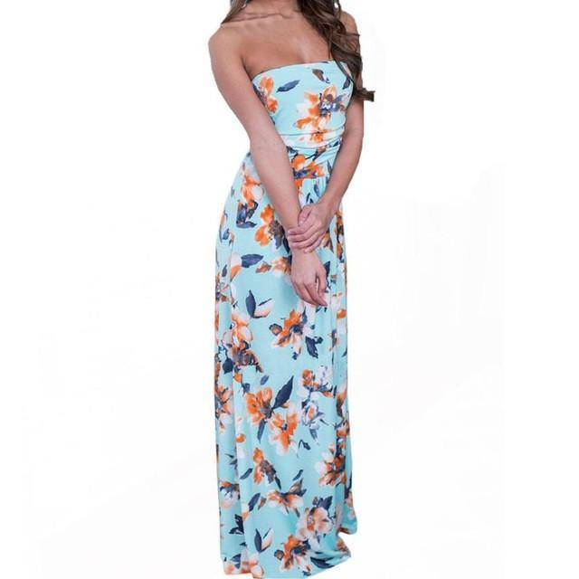 Strapless Floral Printing Dress