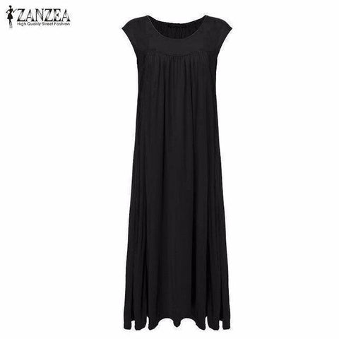 Image of Sleeveless Cotton Long Maxi Party Dress